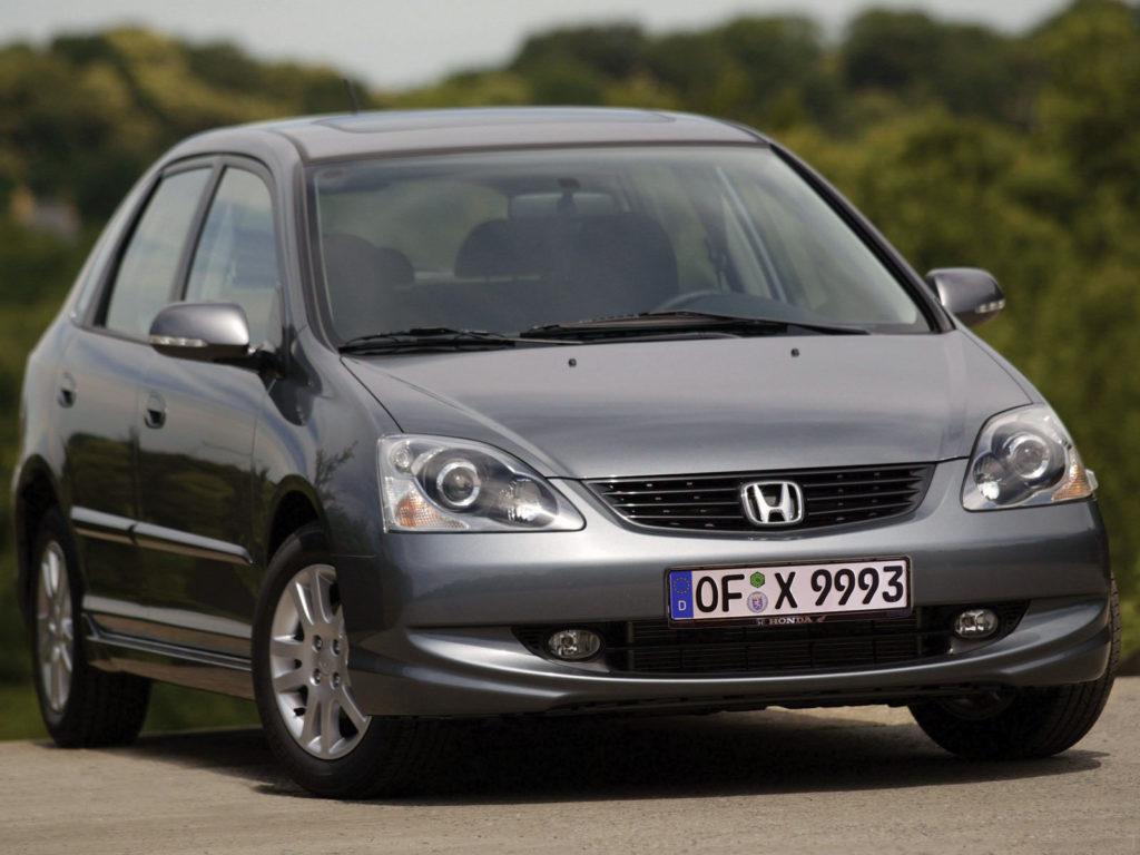 Szara Honda Civic VII zdjęcie z przodu przedstawiające auto