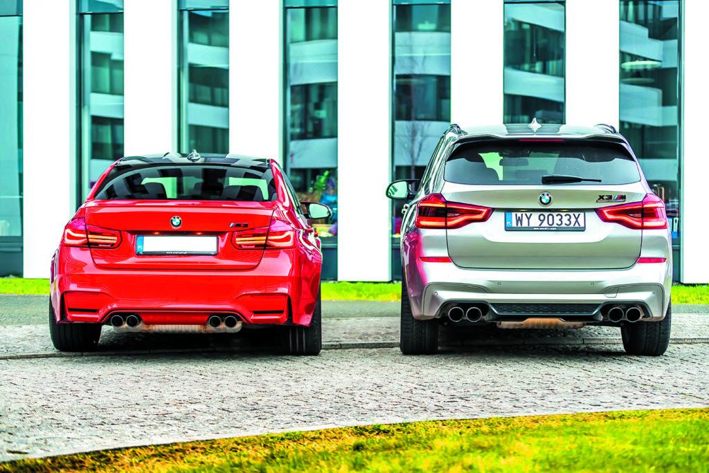 BMW M3 Competition i BMW X3 M Competition tyłem