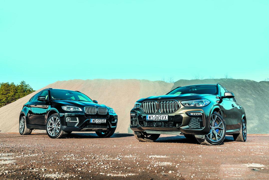 BMW X6 40d E71 i BMW X6 M50d G06 w terenie