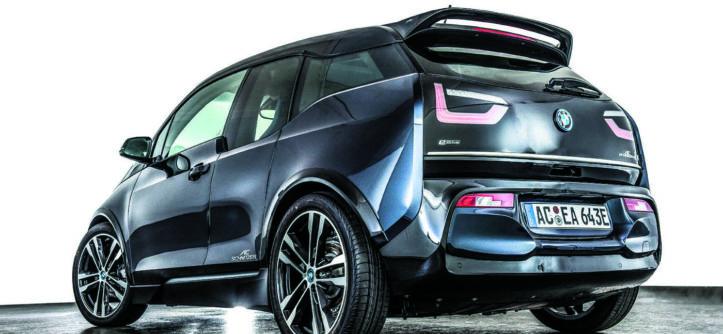 BMW i3s po tuningu AC Schnitzer tył i bok auta