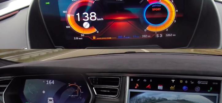 liczniki BMW i8 oraz Tesla Model S
