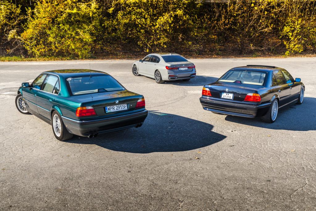 BMW 750iL E38 i BMW 745Le G12 widok z tyłu