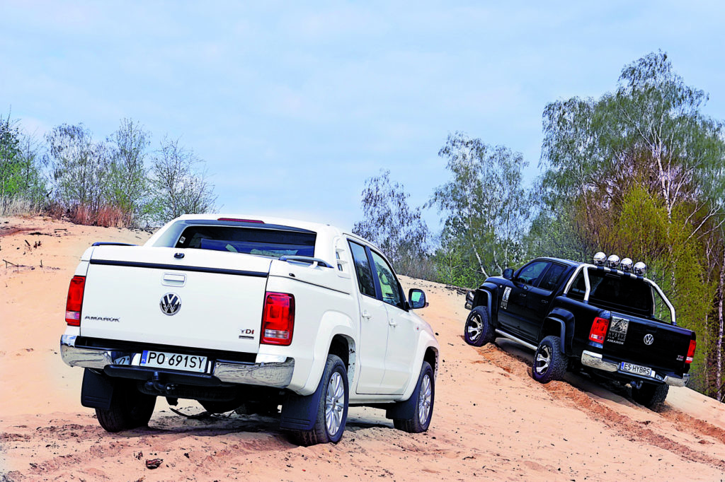 Dwa VW Amarok w terenie