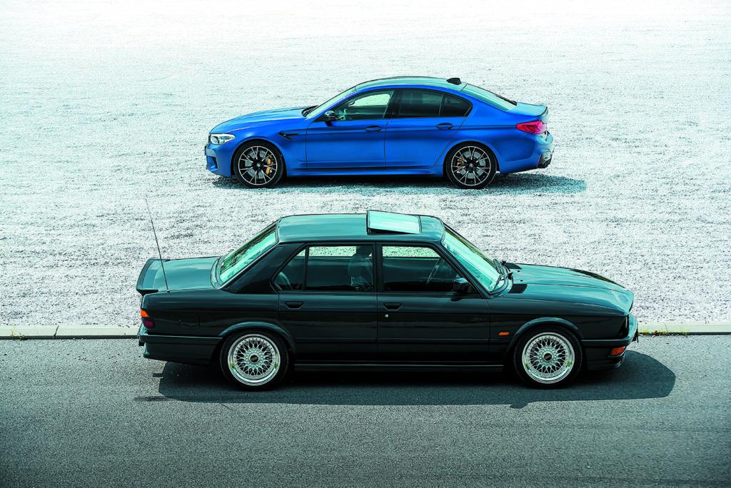 BMW M5 F90 Competition I BMW E28 M5 widok z boku