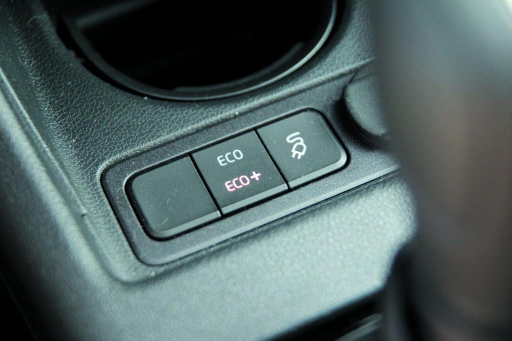 VW e-up! wskaźnik trybów zasilania i jazdy na prąd